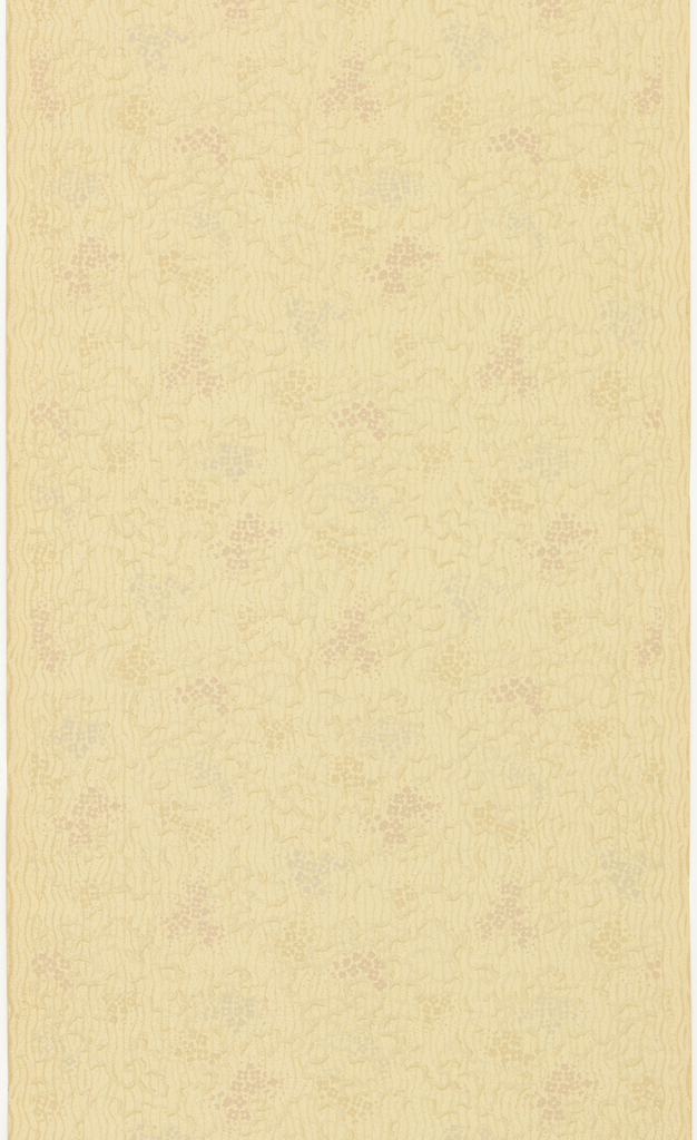 Small patches of dotted color and squiggly lines. Printed in muted colors on off-white ground.