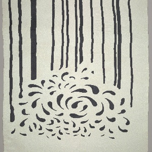 Printed in black against white. Design divided in two parts: the lower part contains stripes of varying widths and irregular intervals; upper part shows free adapation of basic paisley shape in all-over pattern of varying sizes.