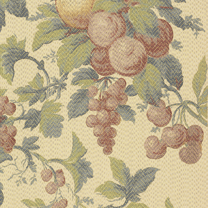 Bunches of fruit, including cherry, plums, grapes, peaches, suspended in tree branch.