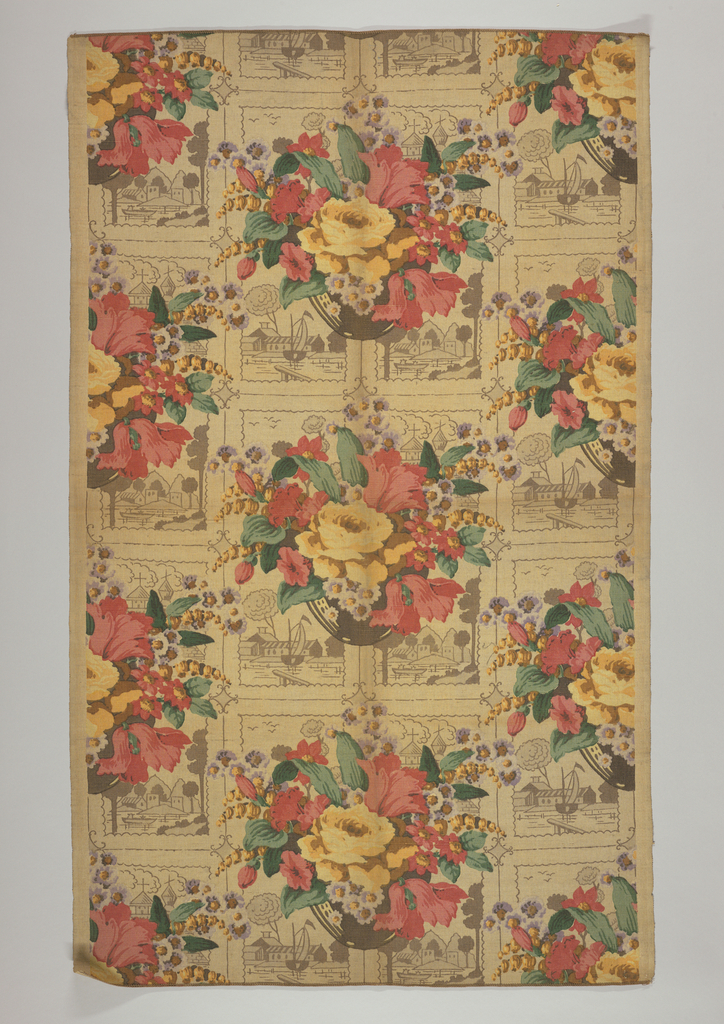 Polychrome block print on coarse tan linen. Bowl of red, yellow, and purple flowers with green leaves. Behind bowl are four tile-like scenes printed in dark brown of harbor scenes with small boats. These designs ar repeated in rows in a half-drop repeat. Condition: soiled