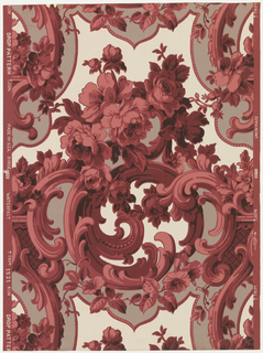 "One repeat with fragment of duplicate. Large pattern of roses and rococo scroll-work based on a paper found in a home in Canada. This latter paper was presumably made in France about 1880. ""a"" is gray-rose and cream; ""b"" a small sample, is predominately green and brown."