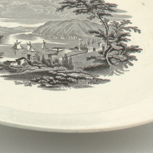 White plate with central transfer-printed decoration showing view from Ruggles House, Newburgh.