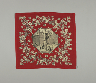 Two identical square handkerchiefs with a black and white scene in the center showing the bear pit of Berne in an octagonal frame made of overlapped logs. Outer wreath of edelweiss on a bright red background.