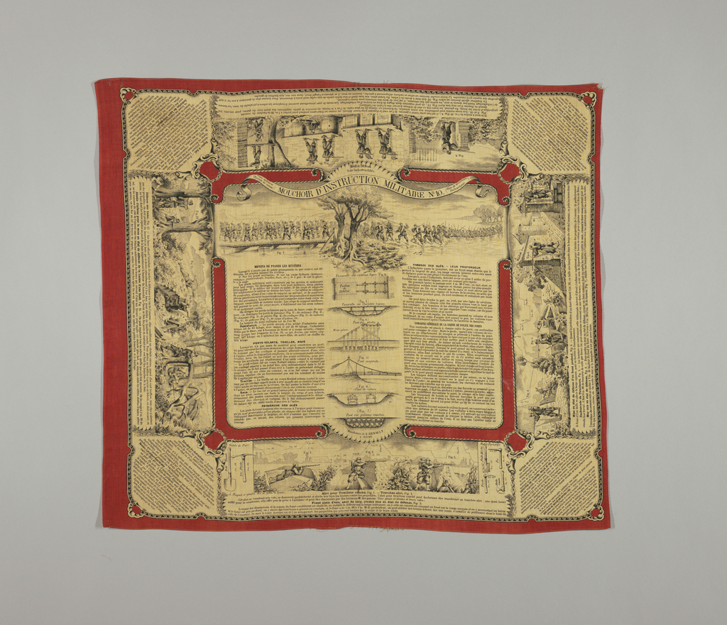 """Mouchoir d'Instruction Militaire No. 10"" is the last in a series of ten instructional handkerchiefs meant for distribution to French troops in the late 19th century. This handkerchief provides instructions on methods of crossing streams. Printed in red and black on an off-white ground. 