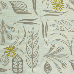 Panel in a large-scale allover design of leaves, stems and fronds printed in gray on white ground with randomly placed olive-green pinwheels.