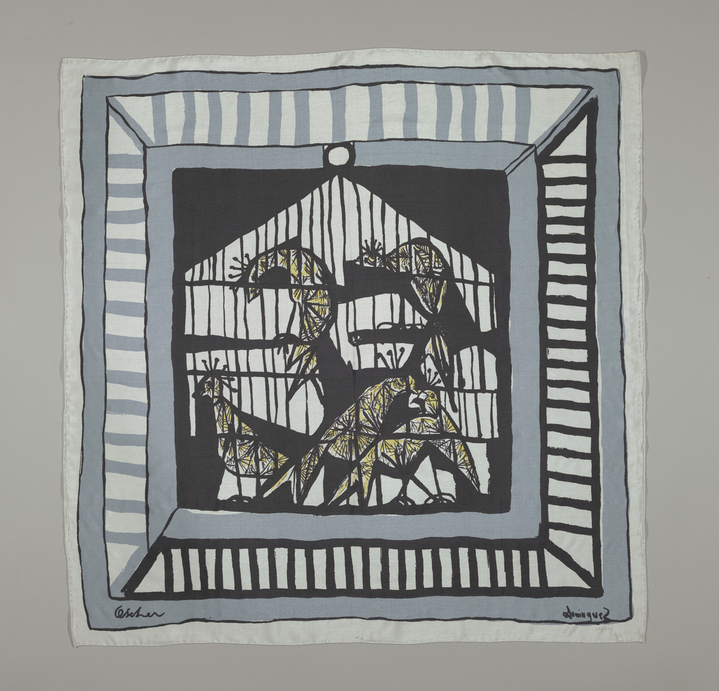 Printed square with center black ground with white cage and animals detailed in black and yellow. Black square is surrounded by dull blue border and another striped border where the top and left are dull blue rugby stripes and the bottom right are black rugby stripes on a white ground. A dull blue border surrounds the striped border with an outmost white border. scarf is signed by the artist.