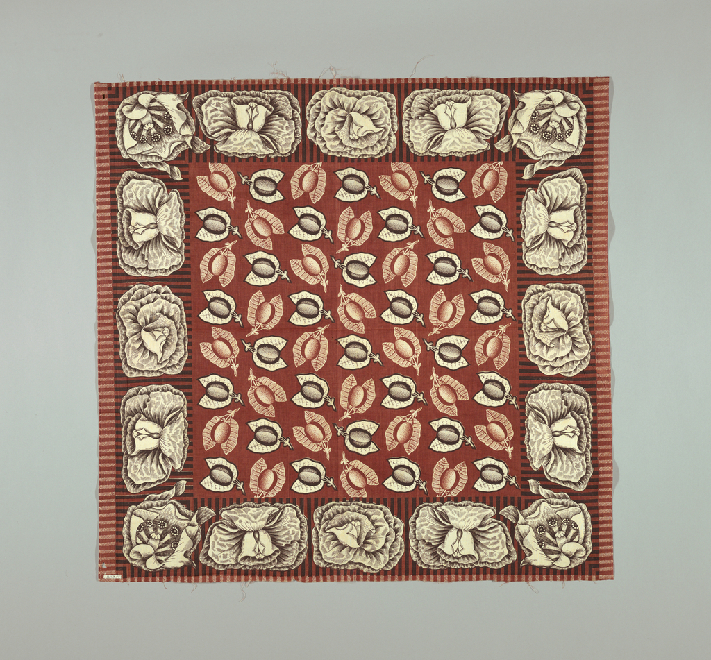 Square printed in dark red and black on white with a border of large flowers, and a center filled with leaves and fruit.
