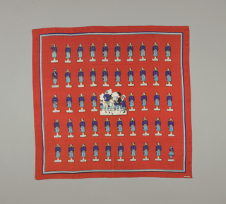 Orange-red silk scarf printed with a design of 19th century French soliders in purple, blue and yellow uniforms.
