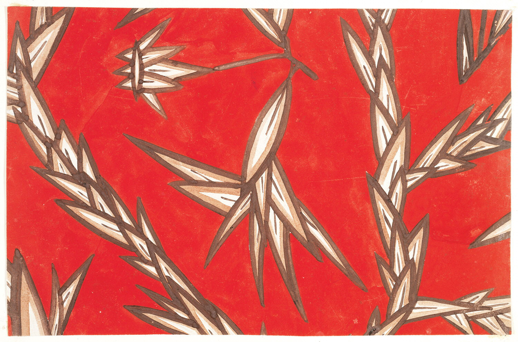 """The """"Irrgarten"""" design consists of stylized, spiky plant leaves in red color variation."""