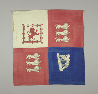 Handkerchief divided into four quarters: two red squares show three lions passant; one blue square with a harp; and one white with a lion rampant inside a red frame.