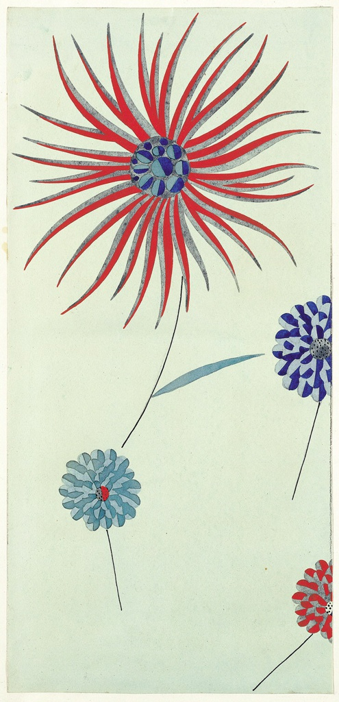 Four scattered blossoms on pale green ground; three with rounded petals in blue, red, and grey; larger one with radiating petals in red and grey.