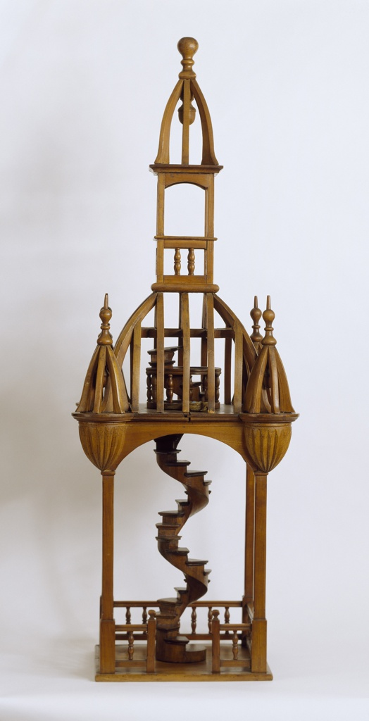 Bell tower model with spiral staircase
