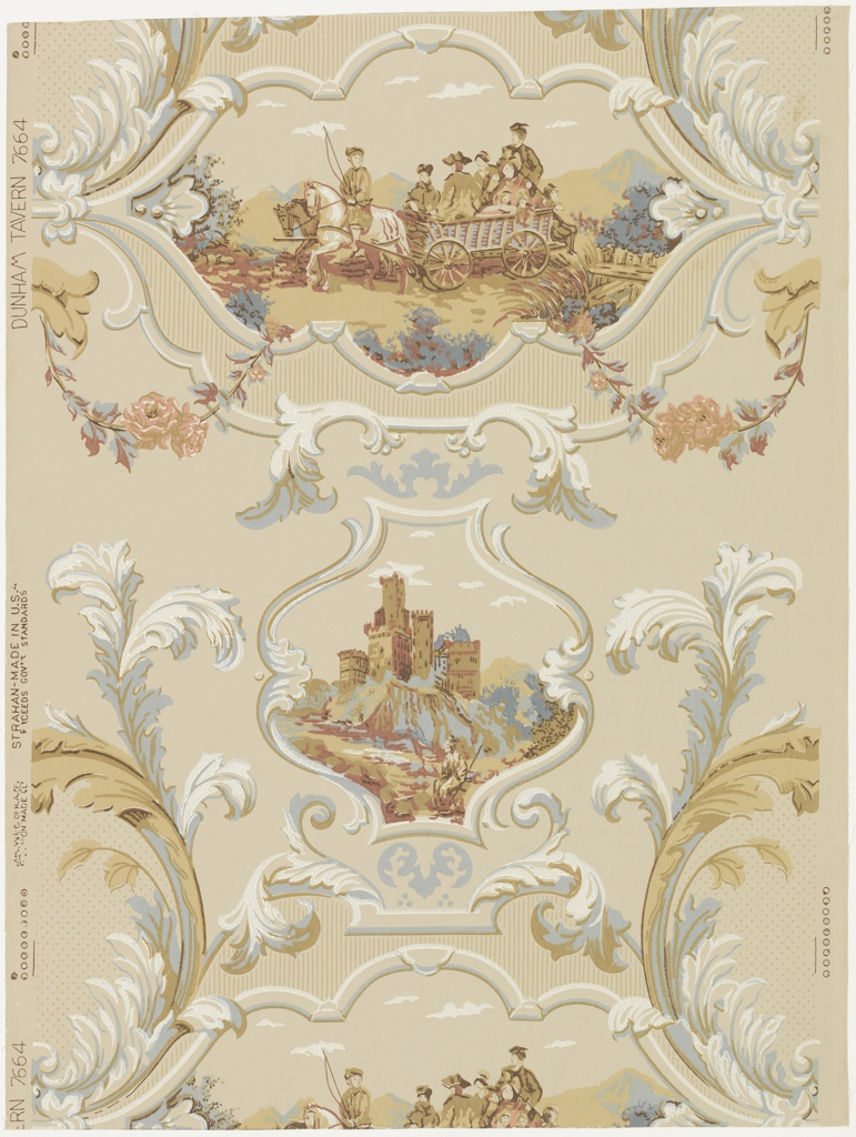 """Two alternating medallions enclosed in Rococo scrolls of acanthus leaves. Larger medallion depicts a country scene: a team of four horses with driver on back of the left side horse, is pulling a wagon filled with men, women and children. The smaller medallion shows a large castle built on high bluffs. The original paper came from the Dunham Tavern, Cleveland, Ohio. Printed on margin: """"Dunham Tavern, 7664, Strahan, Made in U.S.A."""""""