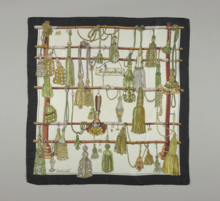 Various tassels hanging from rods in a pictorial composition. Black borders.