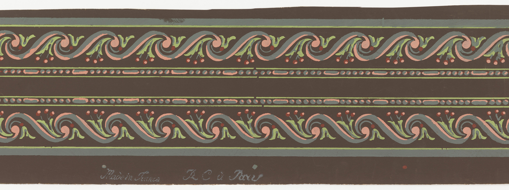 """Wave design composed of """"s"""" scrolls. Within each wave is a foliate sprig with berries. Above is a bead-and-reel molding. Printed two across."""