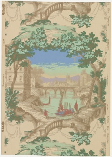 A full width, giving slightly more than one repeat. Vignetted scene in framework of trees. A lake with bridge across middle distance and castles beyond; house in foreground, at left, and boat full of red-coated soldiers being drawn to shore. Distemper colors on neutral pink ground.