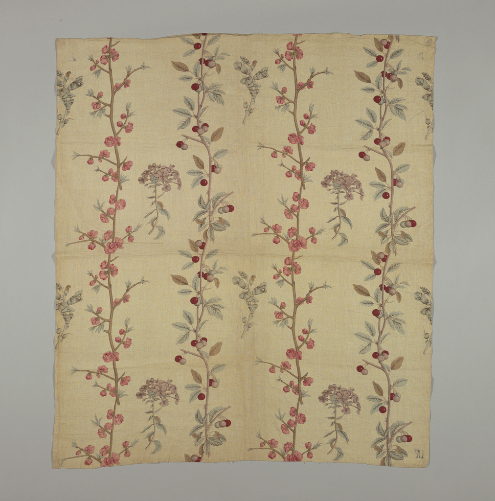 Fabric is a reproduction of an English copperplate print design, circa 1770.  Design of cherry branches in three colors.