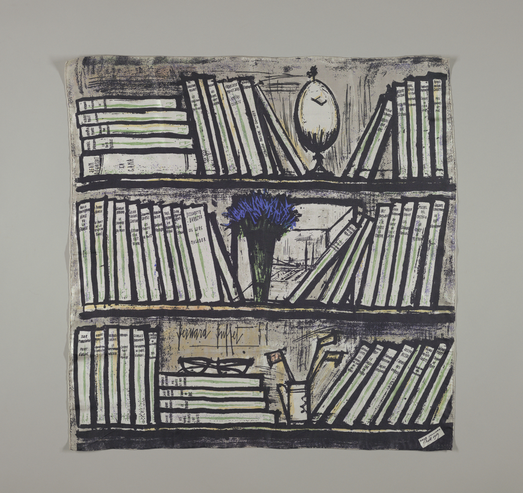 """Bold design in black and white with green, bright blue and various shades of gray of three shelves holding books published by René Julliard plus various objects including spectacles, and a vase of brilliant blue flowers, and the artist's signature. In bottom right corner a small square imprinted: """"René Julliard Nöel 1959."""" These scarfs were sent as a Christmas greeting by the French publishing house."""