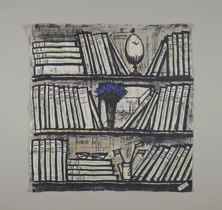 "Bold design in black and white with green, bright blue and various shades of gray of three shelves holding books published by René Julliard plus various objects including spectacles, and a vase of brilliant blue flowers, and the artist's signature. In bottom right corner a small square imprinted: ""René Julliard Nöel 1959."" These scarfs were sent as a Christmas greeting by the French publishing house."