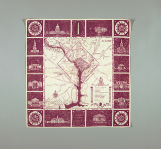 Handkerchief with a map of the District of Columbia and surrounding areas in the central square. Outer border has squares depicting important architectural sites such as the Capitol Building, White House, Lincoln Memorial, Mount Vernon, Supreme Court, and others. Produced for the National Capital Park and Planning Commission