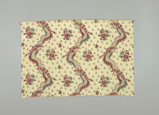 Undulating columns of diaper pattern with flowers and leaves, alternating with white areas dotted with floral spars adn small stylized tuplips.