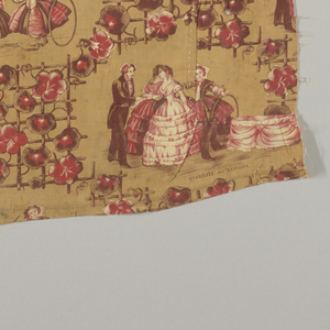 Flowers on trellises separating groups of people dancing and children playing. Brown and red with a tan background on undyed fabric.