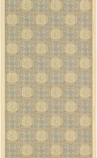 Sanitary tile pattern, alternating plain square with beveled corners and square with tracery. Intalio print.