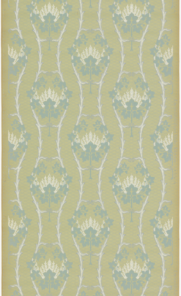 Floral or medallion stripe design. Printed in blue and white on green ingrain paper.