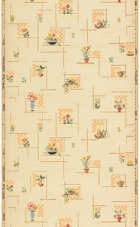 Kitchen paper, with bouquet of flowers in vase, coffee cup and teapot. Each motif is printed against a background of red plaid. Printed on off-white ground.