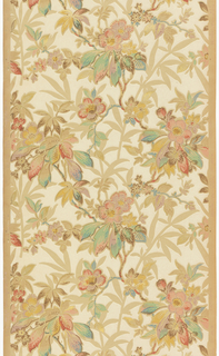 All-over vining floral design, printed in metallic colors against white background. Printed on ungrounded paper.