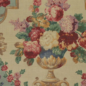 Polychrome block print on natural linen. Formal urn contains large blossomed flowers in red, pink, white, lavender and greenery. In rows of 1/2 drop repeat, one row of urns in cartouche with natural background, one row of urns in cartouche with green-blue background. Yellow and tan strapwork frame separates the cartouches.