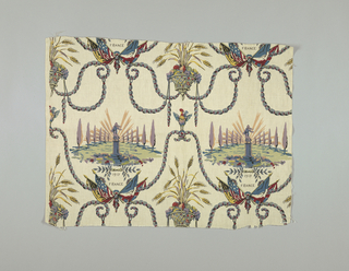 """Multicolored print with swags of rolled and tied draperies in two columns with crossed flags on either side. Above the flags is a statue of France between two rows of poplar trees with the inscription underneath """"1917 France."""" Cock at peak of draperies. Basket of fruit and stalks of wheat in center."""