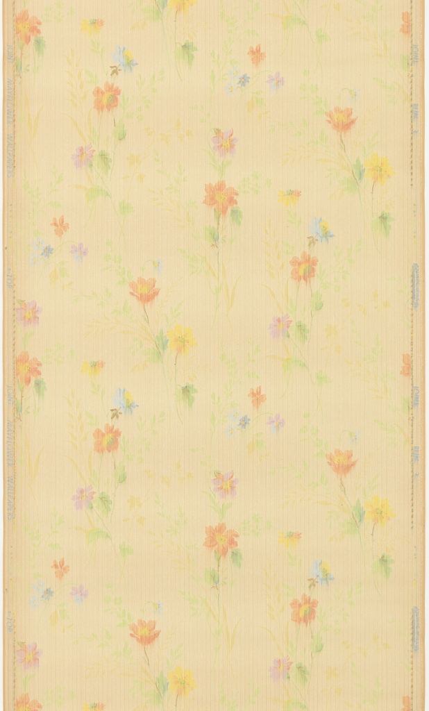 Small-scale multi-colored floral pattern. Printed on striped background.