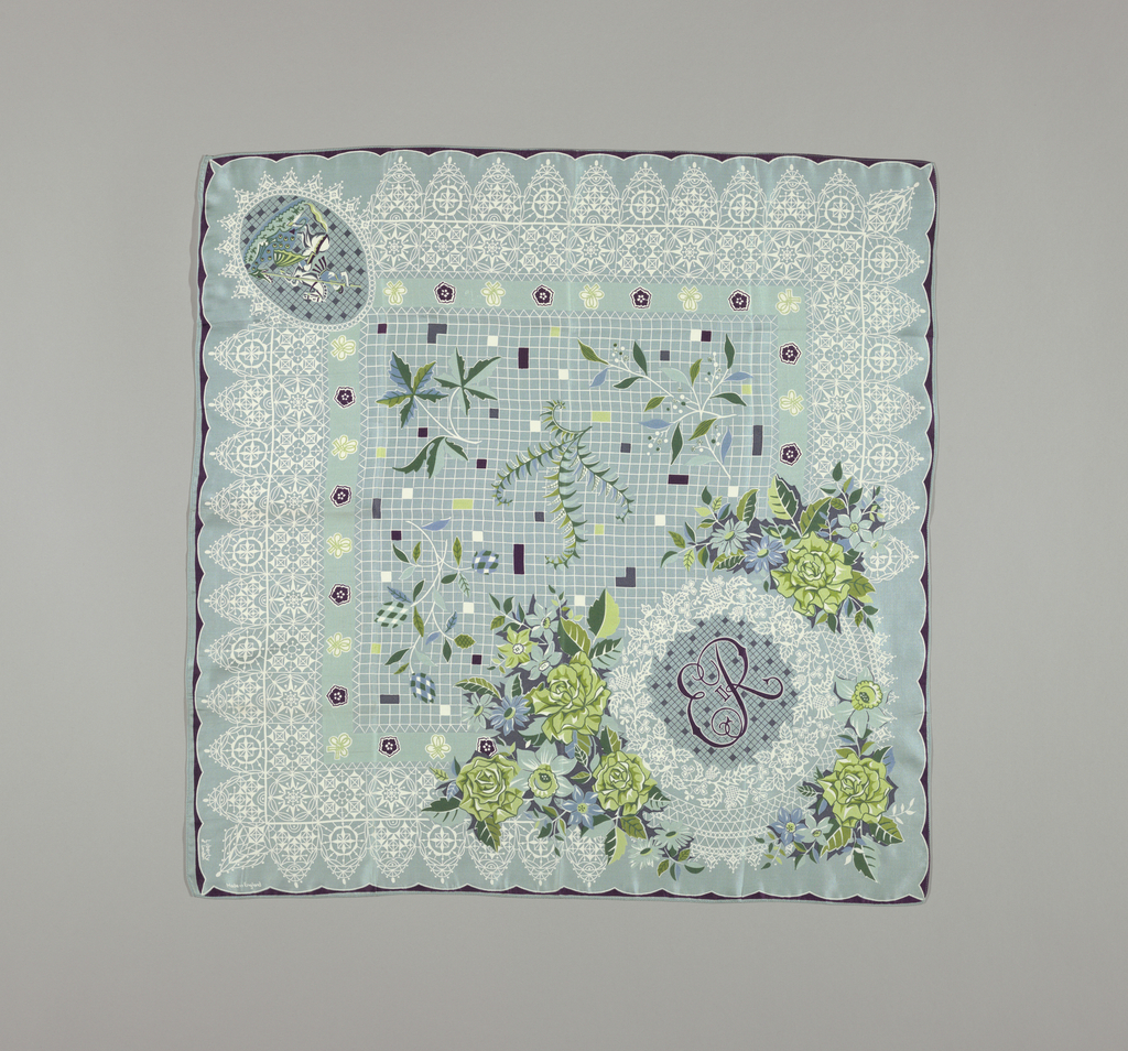 Commemorative handkerchief made for the coronation of Elizabeth II. Emblems of the United Kingdom surround the Royal Cypher of Queen Elizabeth II, with flowers of the Kingdoms and Commonwealth. Colors of soft blue-green ground, shades of blue, yellow, green and white. Black for initials and some details. The wide border design in imitation of early seventeenth century lace in white.