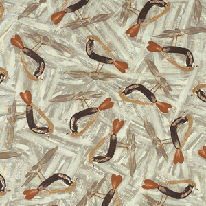 Length of printed cotton with an all-over repeating pattern of a small bird with a yellow back, brown breast, and heart-shaped red tail, on a ground of brushstrokes in taupe on an off-white ground.