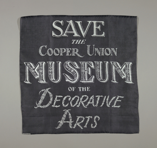 "Four squares printed with the slogan ""Save the Cooper Union Museum of the Decorative Arts."" In green, black, light blue and pink."