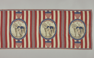 """Eight repeats of a medallion showing George Washington standing in front of a horse holding a piece of paper that reads: """"Washington Victory Is Ours Paul Jones."""" Top part of the medallion reads """"Washington"""" with the Liberty Bell just below. Medallion has thirty-nine stars. Above and below each medallion is a shield flag with thirteen stars. Red and white vertical stripes fill the background."""