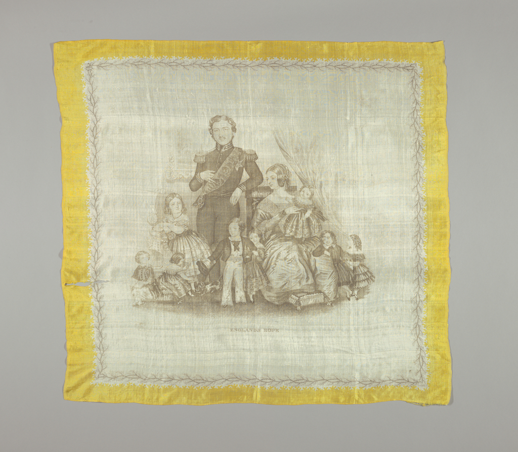 Silk scarf with a family portrait of Queen Victoria, Prince Albert, and eight of their nine children. Yellow border.