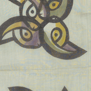 "Square of sheer cotton, heavily sized, with large design of whirling pinwheel-like shapes. Outlined in heavy black with touches of purple, orange, dull yellow-green, painted in afterwards. Fairly narrow hem on four sides with open work finish. Signed: ""B. Rahmi 1951"" in lower right band corner, flanked by small bird conventions."