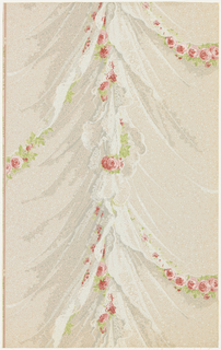"Entire pattern simulates draped lace panels with graceful festooned sprays of dainty red roses and leaves. The design is very effeminate and delicate. The original was a French paper used in a colonial house in New London, Connecticut about 1857. Printed on reverse: No 261 CB"". Printed in margin: ""Birge Made in U.S.A. - Waterfast Louisiana""."