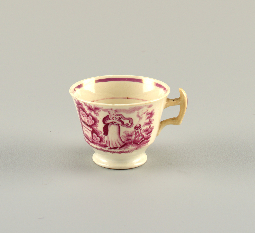Tea cup with pink lustre banding and pink transfer-printed figures of Faith, Hope and Charity.