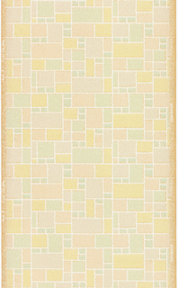 Cubist block pattern. Printed in peach, green and ocher with white outlines. On ungrounded paper.