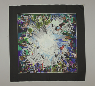Square or scarf decorated with four Parisian street scenes within a black border.