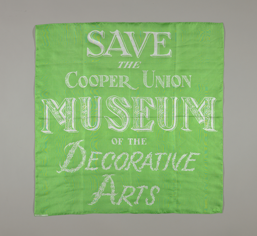 """Four squares printed with the slogan """"Save the Cooper Union Museum of the Decorative Arts."""" In green, black, light blue and pink."""