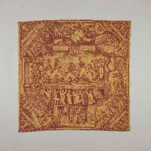 """Handkerchief printed in red and yellow showing unflattering and derogatory political cartoons of Napoleon during his various campaigns. Beneath the vignettes are inscriptions in English and German. The large central vignette is entitled """"Stage of Europe, December 1812."""""""