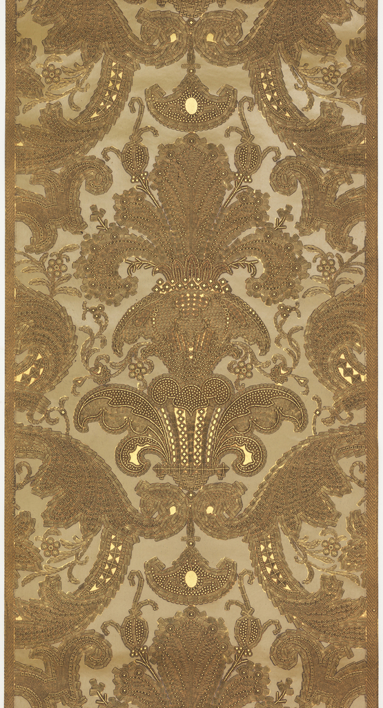 Imitation leather. Gold ground, stenciled cream color, lightly embossed, resembles hand-tooled leather, chevron stripe on edge.