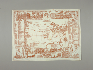 Commemorative handkerchief celebrating the centennial of the birth of Frances E. Willard (1839-1898), the American educator, temperance reformer, woman's suffragist, and founder of the Woman's Christian Temperance Union. Map of the United States show locations of various memorials to Frances Willard.