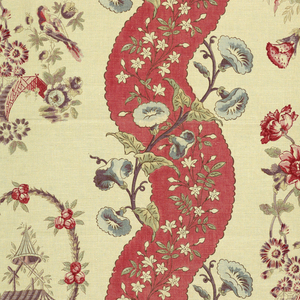 Red serpentine stripes with flowers alternate with white stripes with pagodas, bridges, etc. in chinoiserie style.