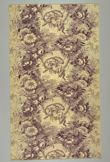 Reproduction of a nineteenth century design of Venus and Putti in floral wreath.