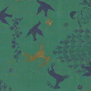 Printed with individual blocks for figure of piping boy, tree, fawn, horse, birds in dark purple with touches of gold on dark green shantung.